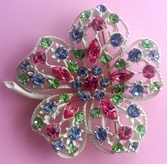 1960s floral brooch  multi coloured diamanté by AgainAgainVintage, $30.00