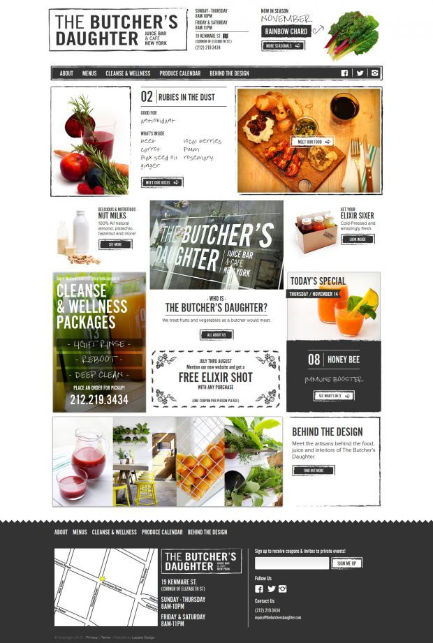 The Butchers Daughter - Juice Bar and Cafe - html5, Responsive Design, jQuery…