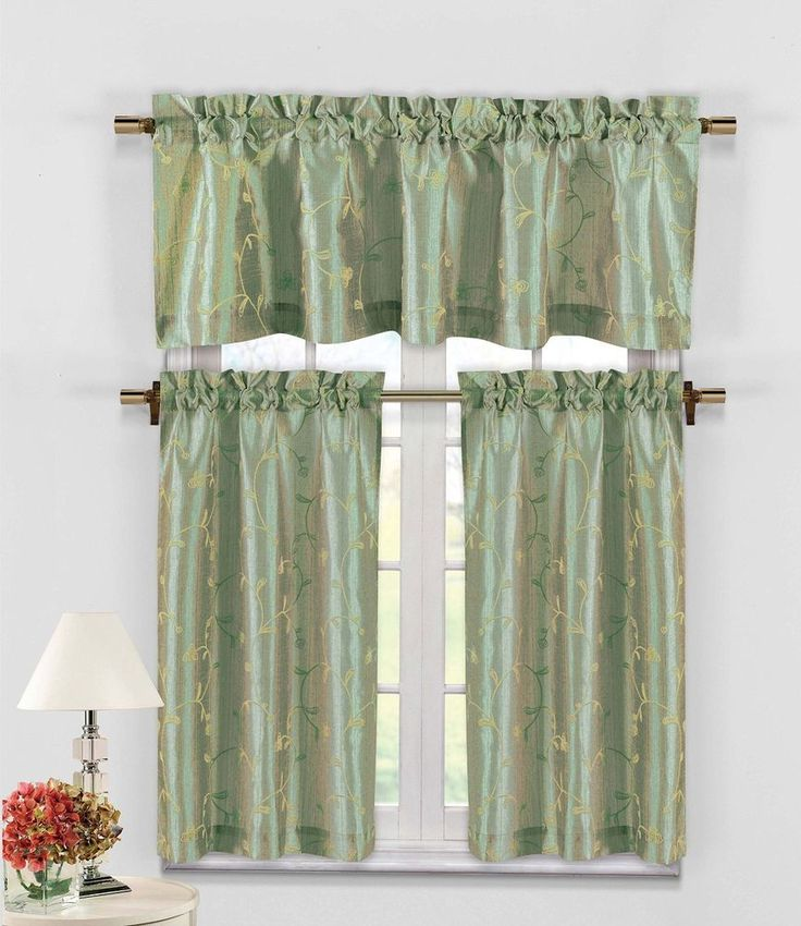 Blue Green Kitchen Curtains: 10 Best Elegance Voile Sheers In Black, White, Sage Green