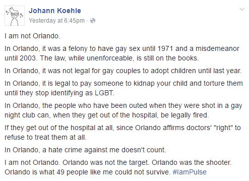 """I disagree with the """"Orlando being the shooter"""" thing, but I may be biased because I live very close to Orlando"""