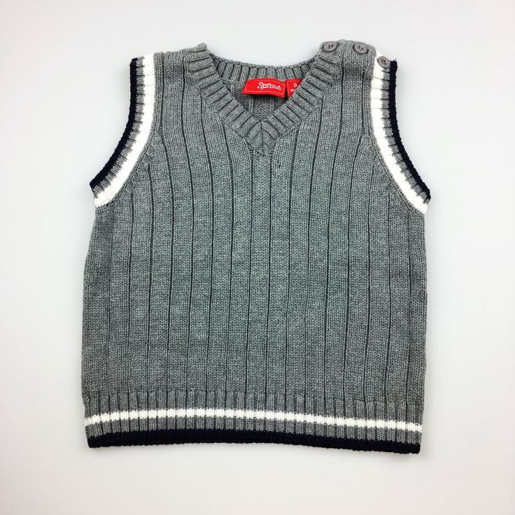 SPROUT, grey cotton vest, good pre-loved condition (GUC), size 0, $16