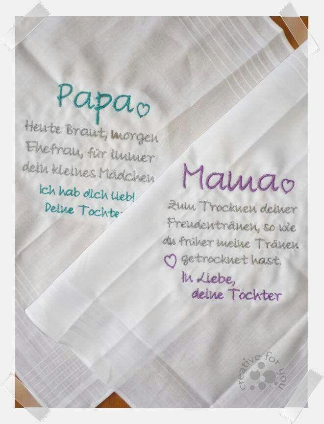 Bestickte Taschentücher für Eltern, Großeltern, Trauzeugen … mit jedem Wuns…