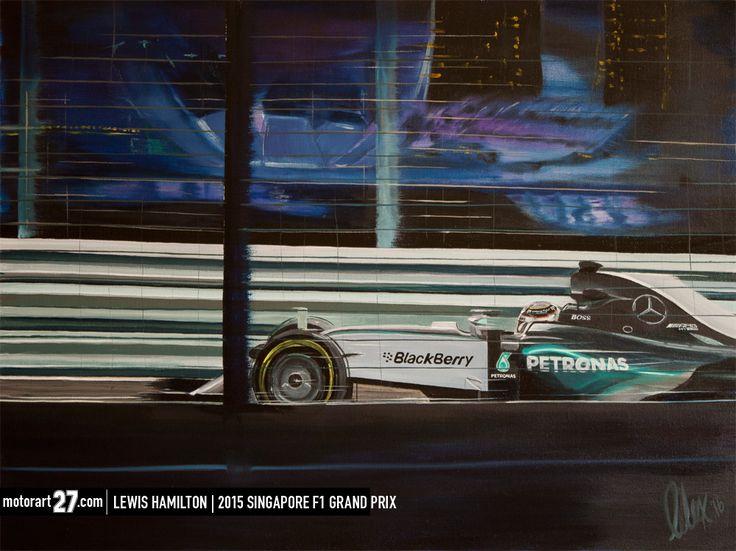 "Lewis Hamilton at Singapore 2015.  30x40"" oil on canvas  #Originalartwork #oiloncanvas #motorart27 #AlexWakefieldFineArt #F1Art #original_art, #art_empire, #f1nightrace, #singapore, #MercedesF1, #LewisHamilton, #MercedesAMG, #amberlounge, #podiumlounge,"