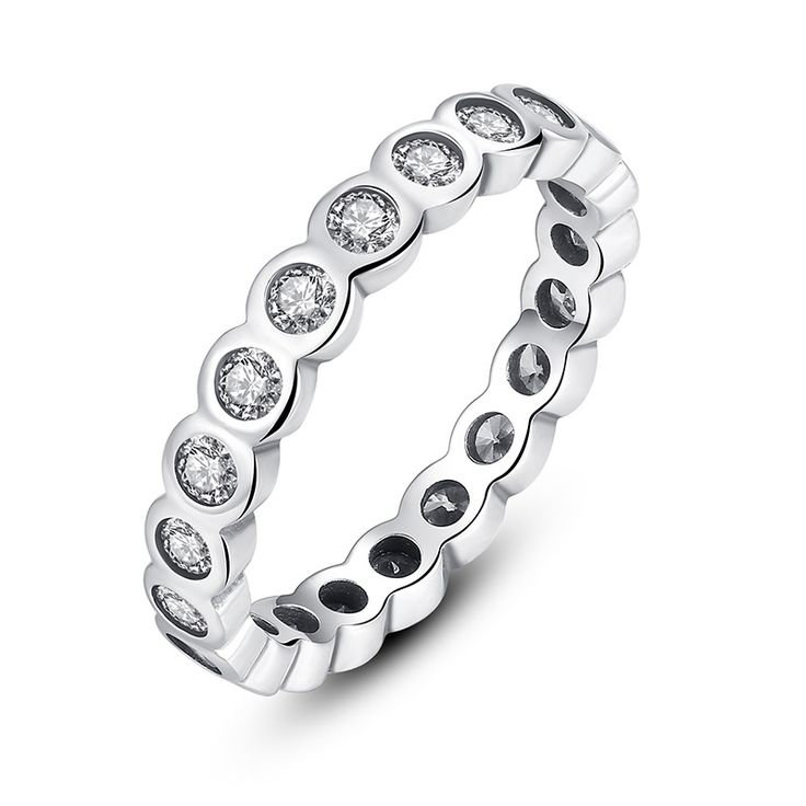 925 Sterling Silver Alluring Brilliant Stackable Finger Ring with Clear CZ // Price: $15.99 & FREE Shipping Worldwide //     #fashion #style #stylish #love #nails #hair #beauty #beautiful