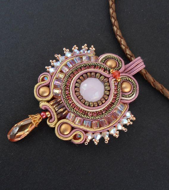 Rose pendant, Soutache, by Cielo Design, via Flickr