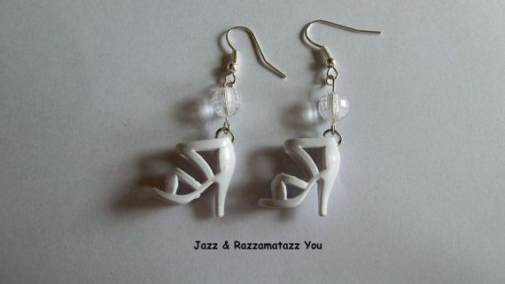 Handcrafted White Barbie Shoe Earrings by JazzRazzamatazzYou