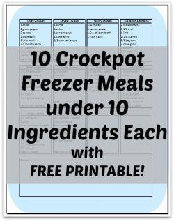 10 Crockpot Freezer Meals under 10 Ingredients Each -- with FREE PRINTABLE!