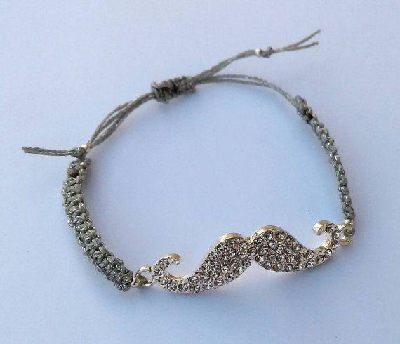 Rhinestone silver moustache charm macrame by personal2treasures