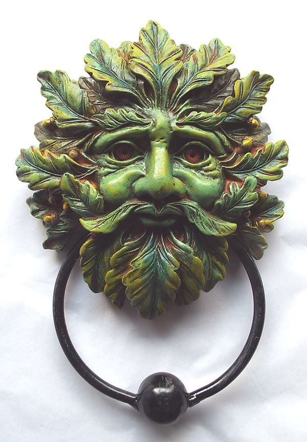 oak leaf green man door knocker
