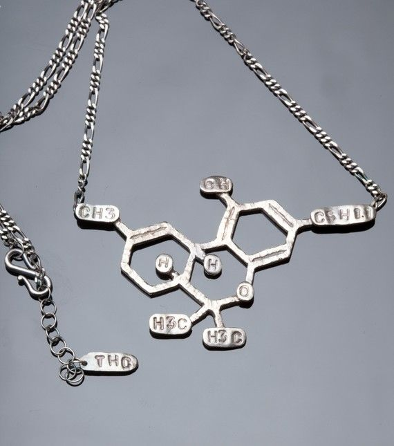 THC Chemical Structure 16 Necklace in Sterling Silver by PollyLinn, $100.00