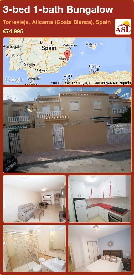 3-bed 1-bath Bungalow in Torrevieja, Alicante (Costa Blanca), Spain ►€74,995 #PropertyForSaleInSpain
