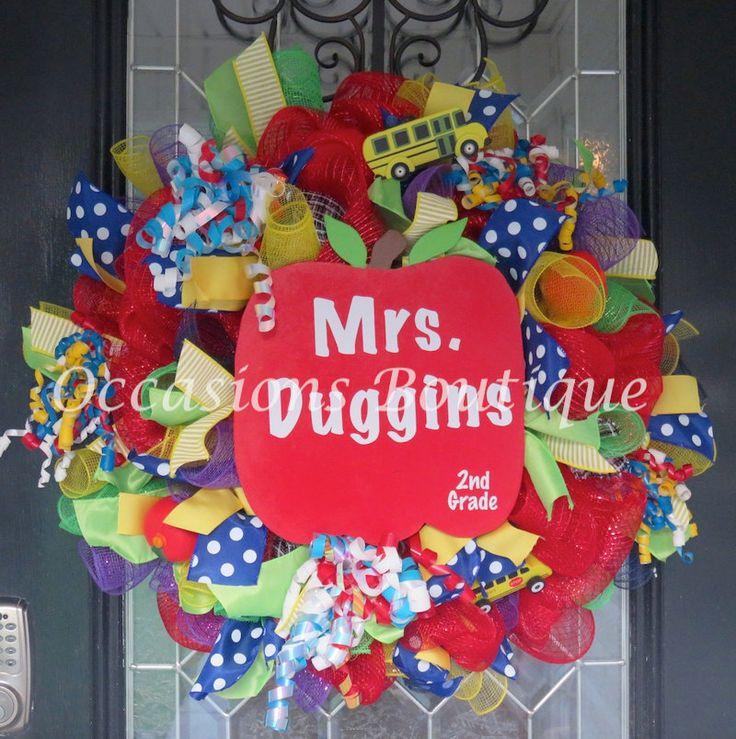 Teacher Wreath, Teacher door hanger, Classroom Door Hanger, Classroom decoration, Teacher Gift, Back to School, Personalized Wreath by OccasionsBoutique on Etsy