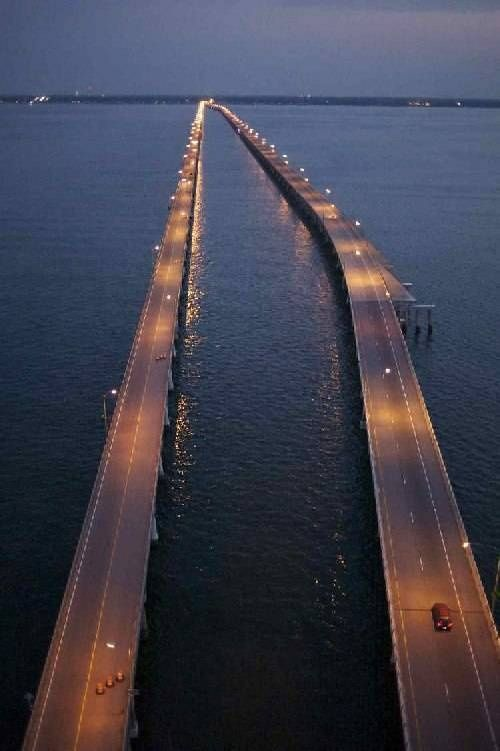 This is a petty shot of the Chesapeake bay bridge tunnel connecting eastern shore to southside VA