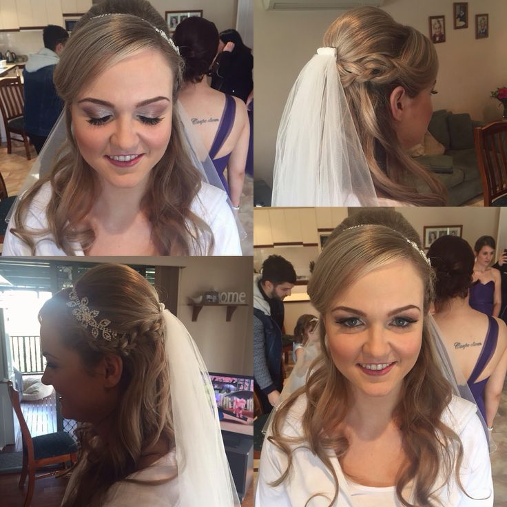 Stunning bride simple soft waves with braid and jewelled flower head piece, statement silver to brown rose eyes and pink lip