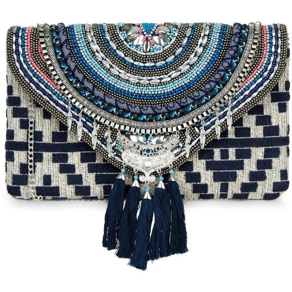 New Look Blue Beaded Tassel Clutch (2,415 INR) ❤ liked on Polyvore featuring bags, handbags, clutches, blue pattern, print purse, beaded purse, blue handbags, beaded handbags and print handbags