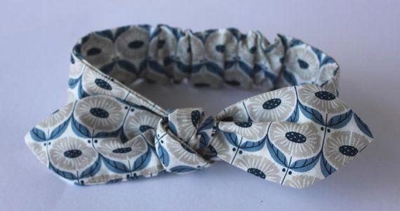 100% organic blue/grey baby headband baby by OrganicMinikins