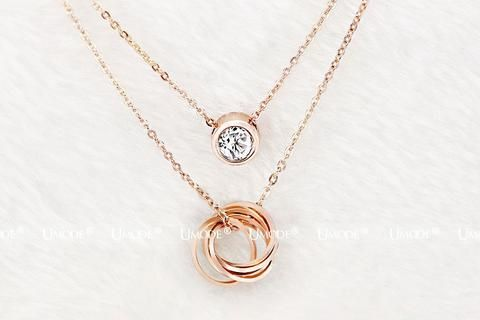 Original Multilayer 18K Rose Gold plated crystal jewelry pendant necklace women