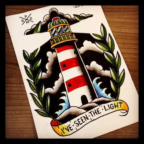 traditional lighthouse tattoo flash