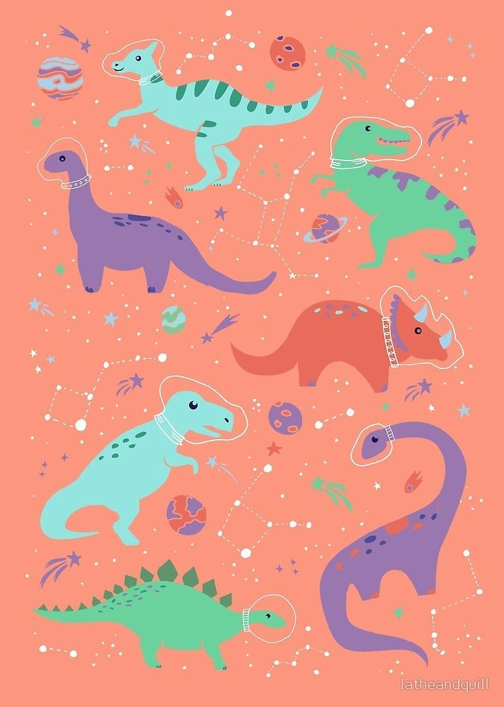 Space Dinosaurs In A Coral Sky By Latheandquill Dinosaurillustration In 2020 Dinosaur Wallpaper Cute Wallpaper Backgrounds Wallpaper Iphone Cute