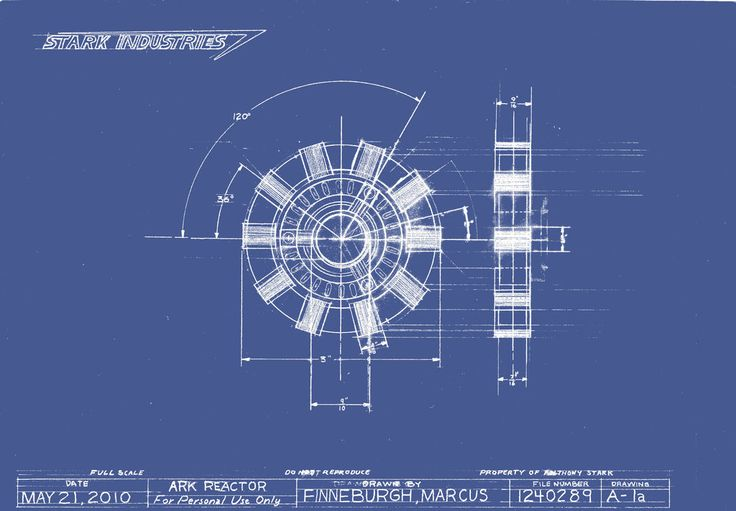 a photoshoped version of my arc reactor technical drawing to look like a blueprint