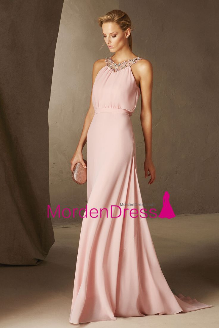 2017 Prom Dresses A Line V Neck Chiffon With Beading Sweep Train US$ 149.99 MDPH1GHYD7 - MordenDress.com for mobile