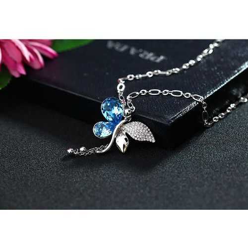 Butterfly Rain Sweater Chains For Women Now Genuine White Gold Plated Crystal