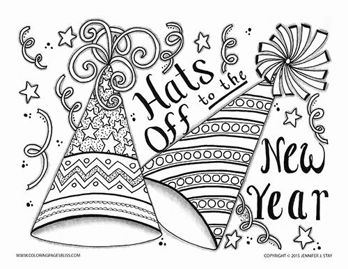 new years coloring pages 2018 Premium Coloring Page (015 FH D009) | Adult Coloring Pages  new years coloring pages 2018