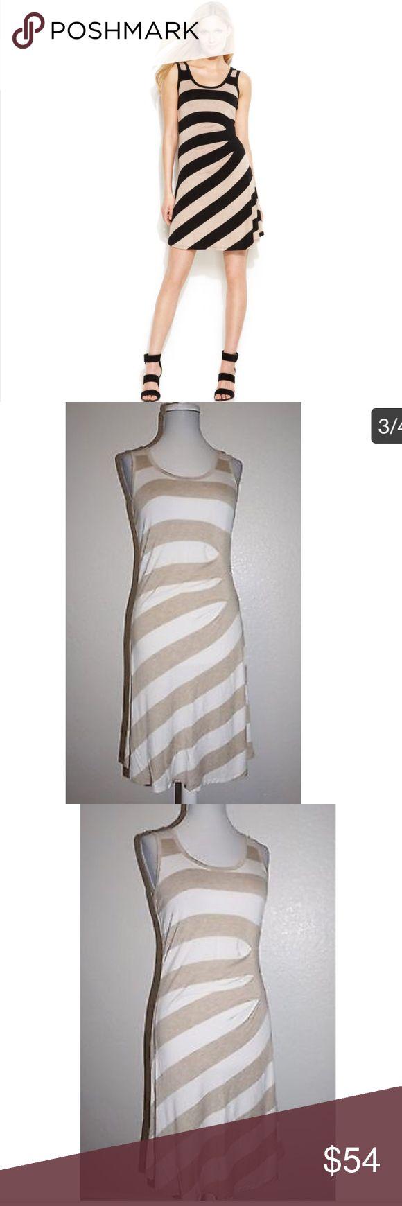 Alvin Klein Beige Gathered Striped Tank Dress Sexy summer gathered striped dress in beige & white by Calvin Klein. 96% rayon 4% spandex. Size 2. EUC. Calvin Klein Dresses Asymmetrical