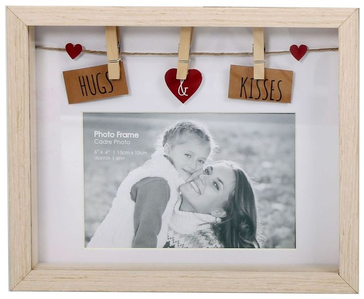 Clothes Line Wooden Box Frame With Pegs For 6 X 4 Photo - Hugs And Kisses