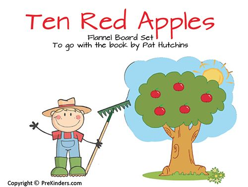 10 Red Apples Flannel Board Set - printable