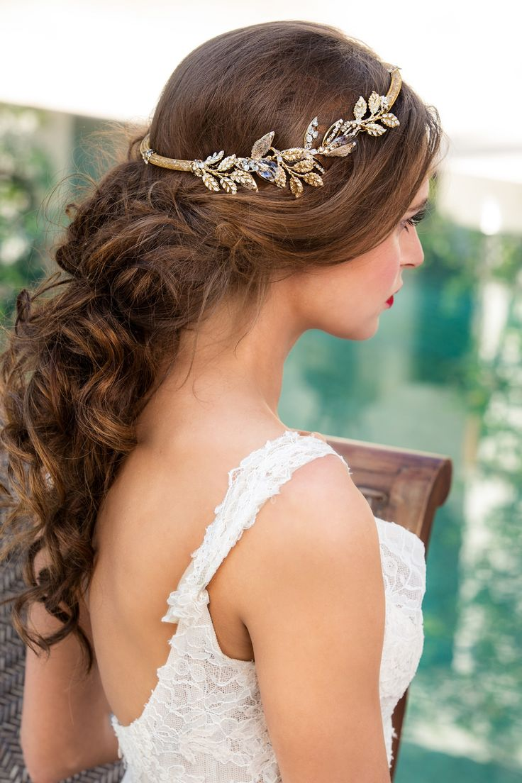 Br bridal headpieces montreal - Bridal Headpiece In Gold With Lace Bridal Robe Maria Elena Accessories From Solutions Bridal