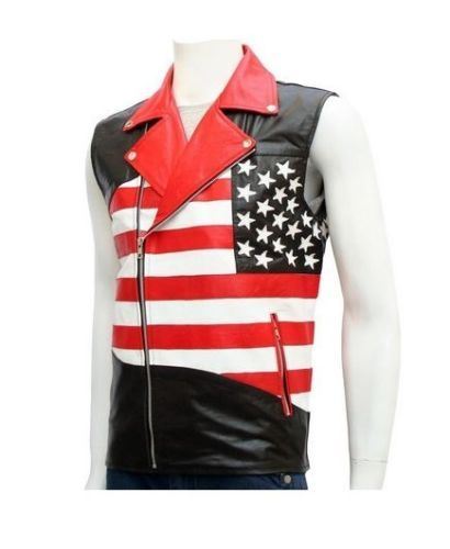 American Flag Cafe Racer Real Leather Star Vest Jacket   American Flag Vest for Men is an exclusive design showing stars on front and back & wraparound stripes. It is rare that you get the American flag design leather vest  Product Details:  American Flag Vest for Men is an exclusive design showing stars on front and back & wraparound stripes. It is rare that you get the American flag design leather vest; this exclusive vest has been designed to celebrate the special occasions. The design…