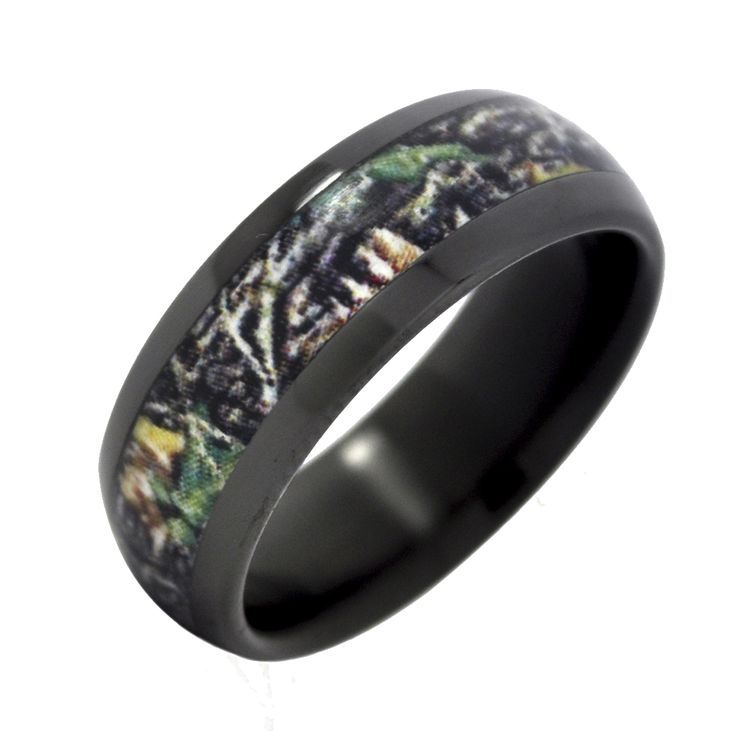 High Quality Fable Designs Black Zirconium With Mossy Oak New Break Up Camouflage Inlay Wedding  Band