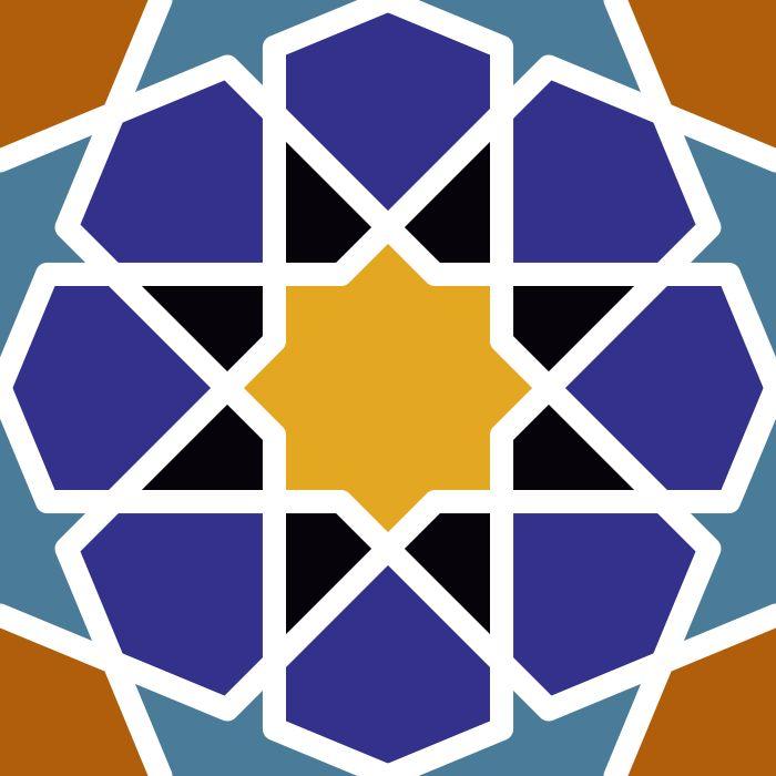 Patrón Islámico en vector e imagen normal. Descarga gratis. Azulejo de la Alhmbra.