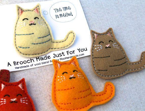 Brooch Wool Felt Embroidered Kitty Cat by misohandmade on Etsy