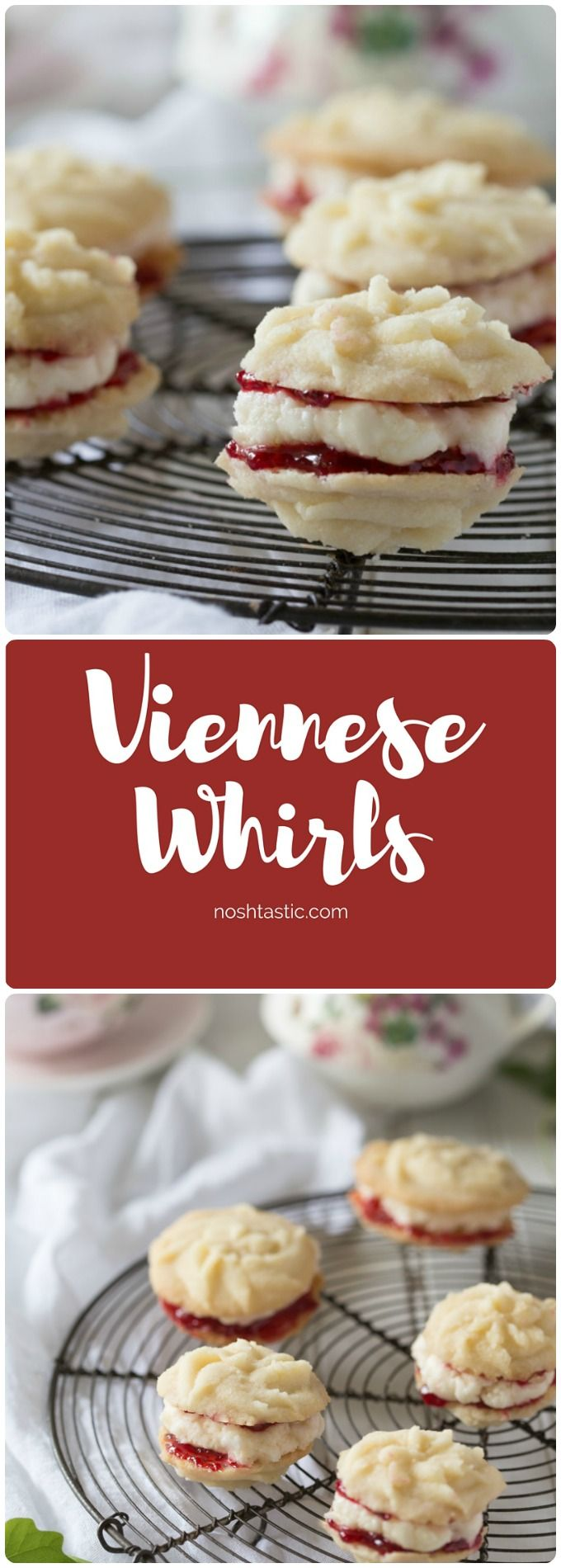 Gluten Free Viennese Whirls are soft buttery vegan shortbread sandwich cookies with raspberry jam and frosting in the middle, a classic British cookie!
