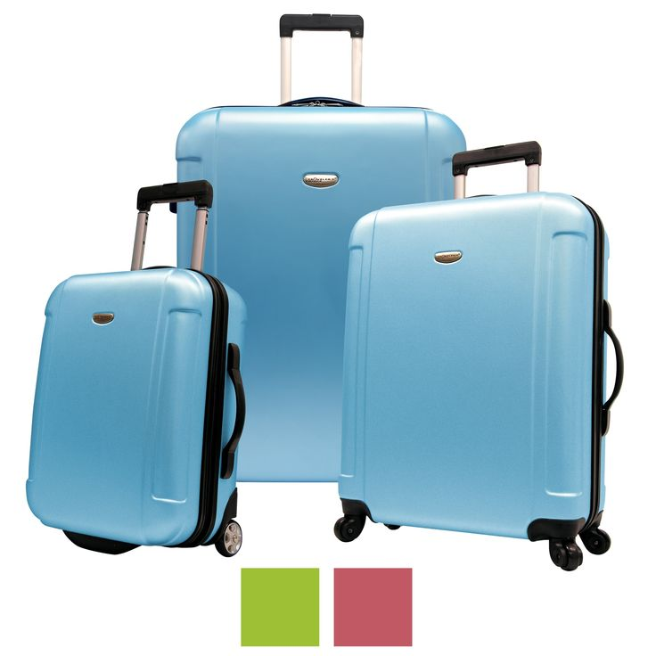 Travel in style with a Freedom three-piece hard shell spinner luggage set. The luggage set is made of lightweight, yet extremely durable Polycarbonate ABS hard shell materials that absorbs the impact by flexing under heavy pressure.