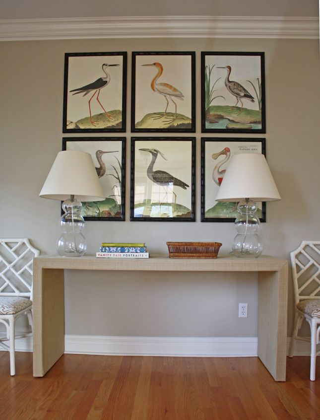 vintage bird prints, parsons desk, chinese chippendale chairs