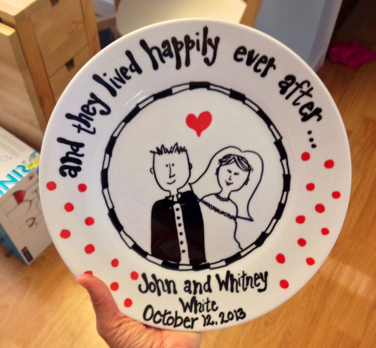 Diy Wedding Gift Ideas For Bride And Groom : Wedding gift, bride and groom plate My fun stuff! Pinterest Kid ...