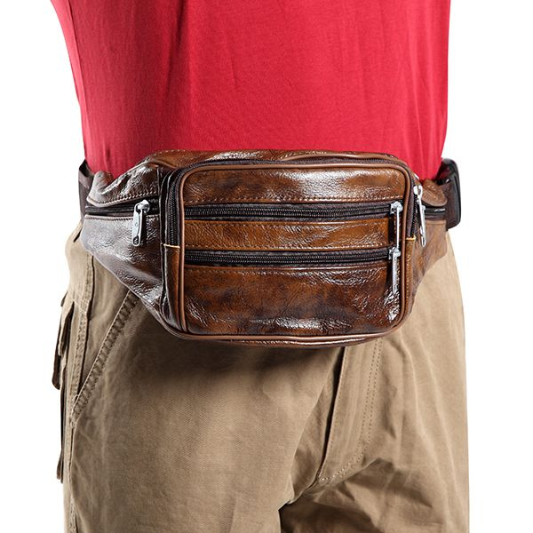 Men Genuine Leather Waist Bag Vintage Cycling Chest Bag Big Capacity Crossbody Bag