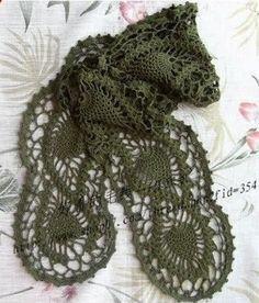 Green Pineapple Scarf free crochet graph pattern #crochet