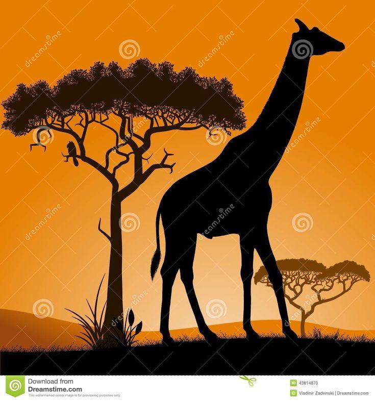 Саванна - жираф Иллюстрация вектора - изображение: 43814870