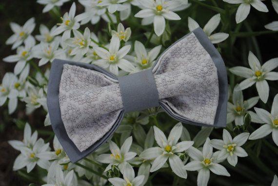 Embroidered bowtie Gray pretied bowtie Groomsmen от accessories482