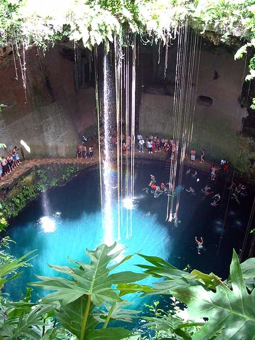 Cenote Ik Kil, near Chichen Itza, Mexico. Swam in this, and jumped off the higher plateau. Was awesome!