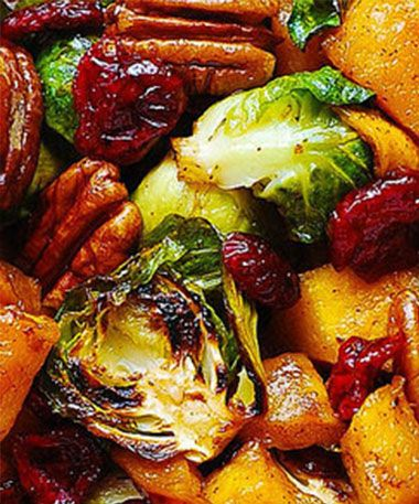 Roasted Brussels Sprouts, Cinnamon Butternut Squash, Pecans, and Cranberries. Substitute LC sweetener for maple syrup