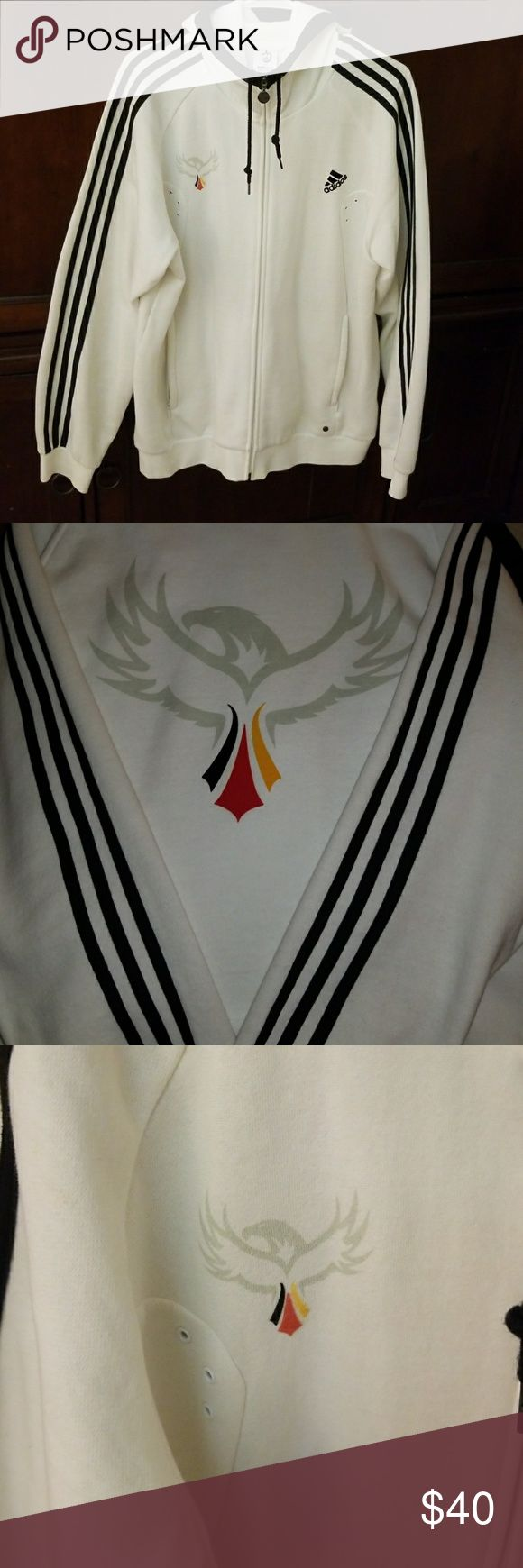 Mens Adidas Germany hoodie Mens Adidas Euro 2008 Germany hoodie. In near pristine condition. Zipped pockets. Very clean and awesome design for the German national team. Size medium but runs a bit big. adidas Jackets & Coats