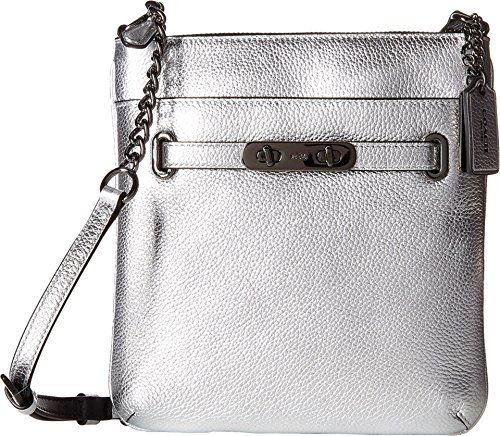 COACH Women's Pebbled Leather Swagger Swingpack DK/Silver Cross Body