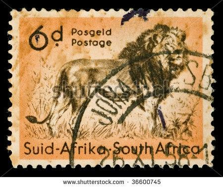 Vintage canceled postage stamp with lion illustration. South Africa, Johannesburg, 1958. by dimitris_k, via ShutterStock