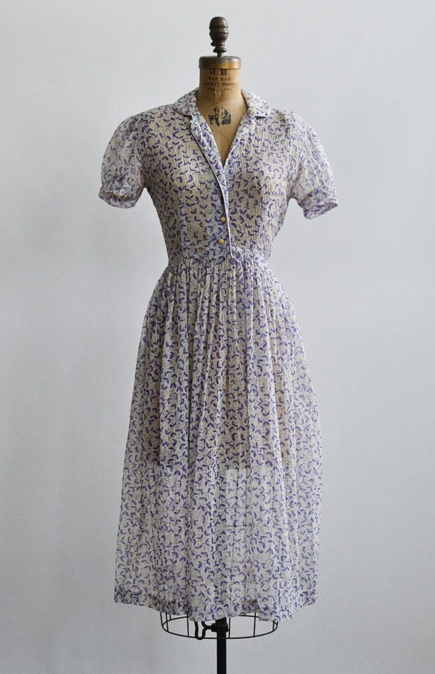 vintage 1940s purple prints sheer shirt dress [Voix d'Interieur Dress] - $148.00 : Vintage & Vintage Inspired Clothing, Adored Vintage, Portland Oregon