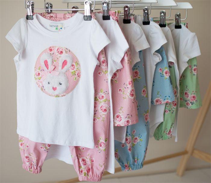 """Miss Bunny"" Set Size 2-4 Easter Applique bodysuit & matching harem pants Green | Twinkle Star | madeit.com.au"